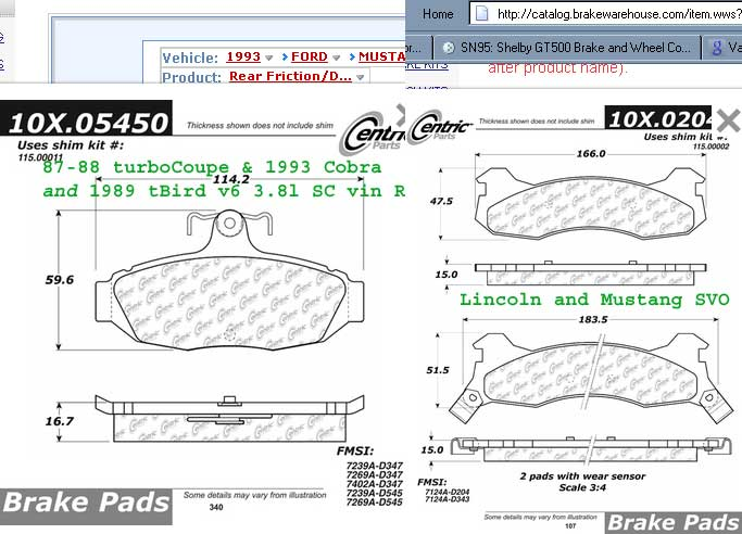 New Parts Master D347 Rear Organic Disc Brake Pads