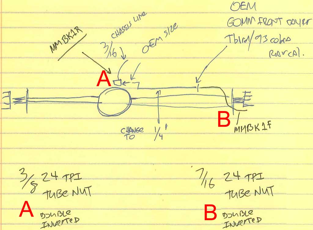 Brake Line Diameter : Cobra turbocoupe rear brake make custom axle hard